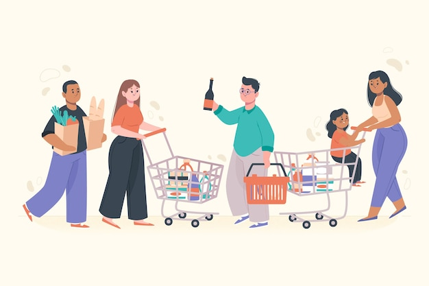 People shopping groceries for daily use