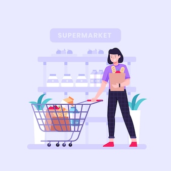 People shopping groceries illustrated