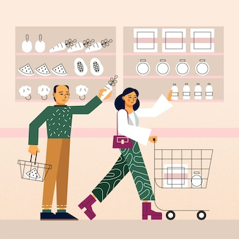 People shopping for groceries illustration