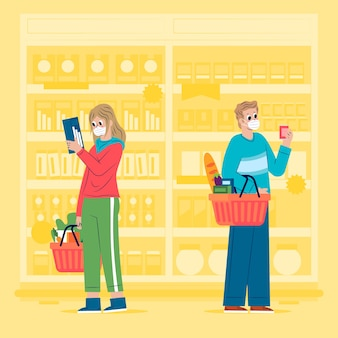 People shopping groceries illustration