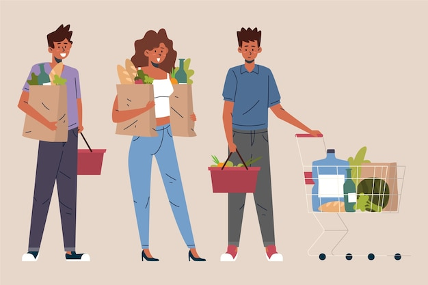 People shopping groceries