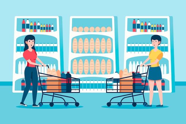 食料品を買い物する人