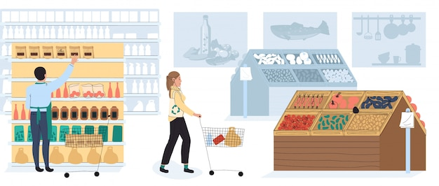 People shopping in grocery store, supermarket customer, vector illustration
