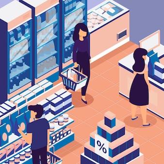 Люди, делающие покупки в изометрическом супермаркете