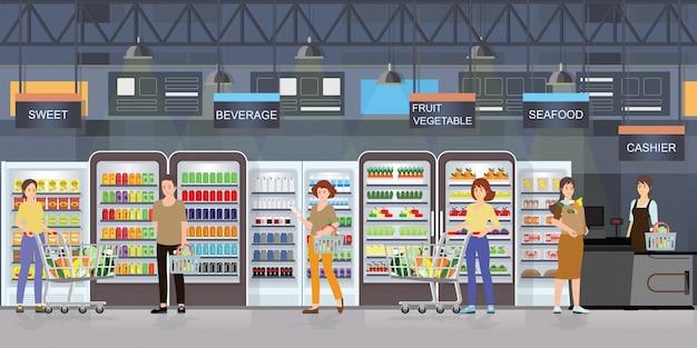 Люди, покупки в супермаркете интерьер с товарами на полках.