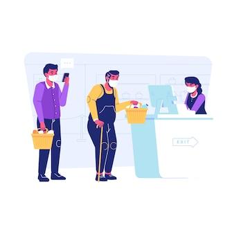 Covid19 유행성 상황에서 마스크를 쓰고 슈퍼마켓에서 쇼핑하는 사람들