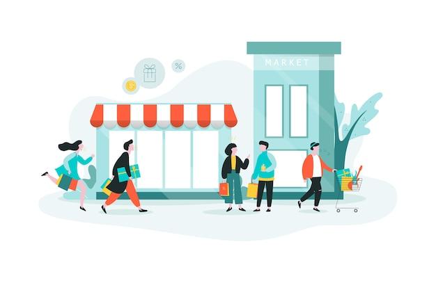쇼핑몰에서 쇼핑하는 사람들. 도시에서 쇼핑, 큰 상점