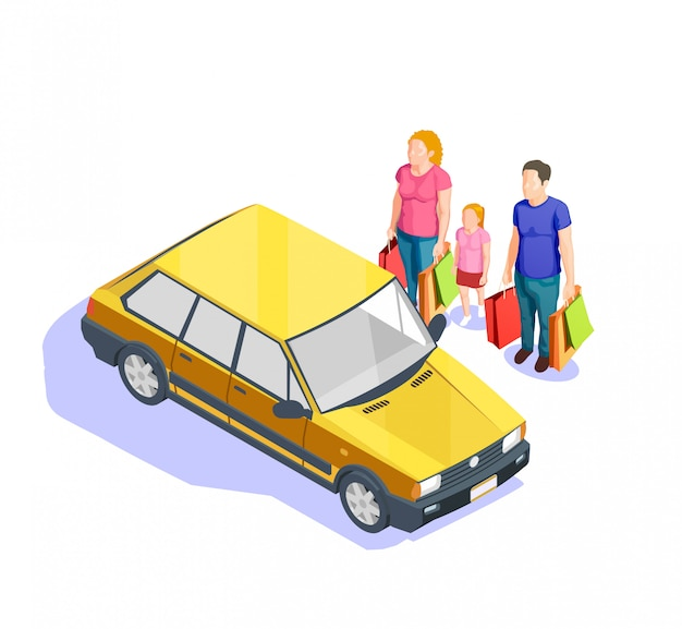 People shopping isometric illustration