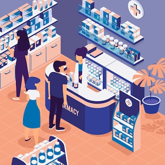 People shopping in an isometric pharmacy