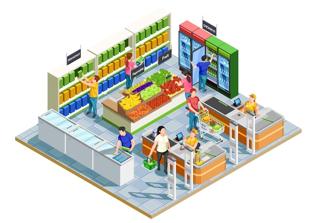 People shopping isometric