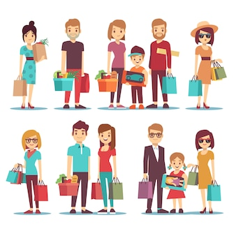 People shopping in mall vector cartoon characters set