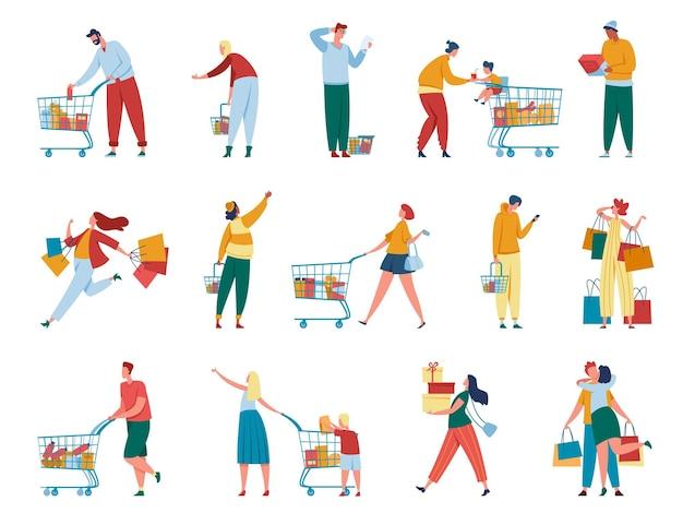 買い物をする人。小売店やモールで購入する紙袋、カート、ギフトボックスを持つ男性と女性