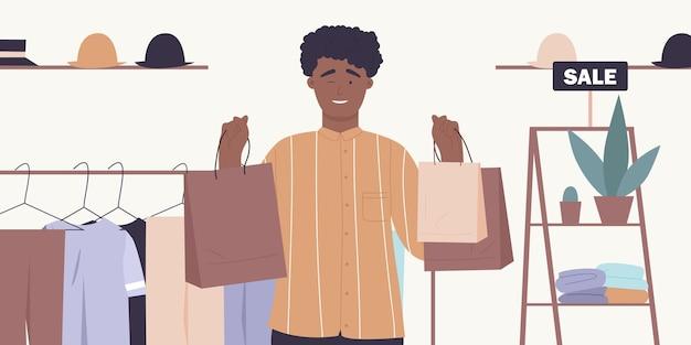 ディスカウントショップで買い物をする人ギフトを買うバッグを持っている幸せな買い物客の男