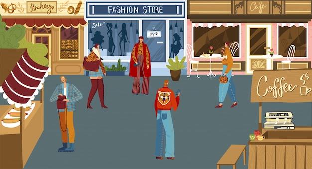 Люди, делающие покупки на городской площади, небольшая местная булочная, магазин модной одежды, кафе и уличная еда, иллюстрация
