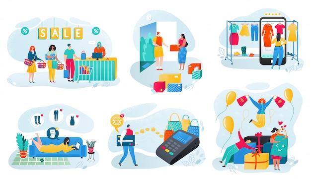 オンラインショッピングイラストセット、漫画の小さな買い物客のキャラクターが布を買って、白の購入の支払いをする人々