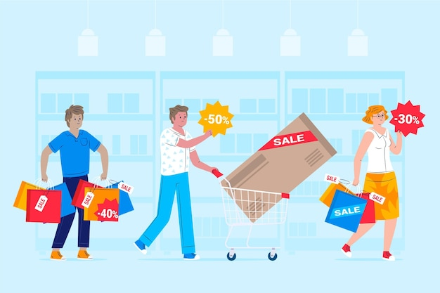 People shopping on sale flat design