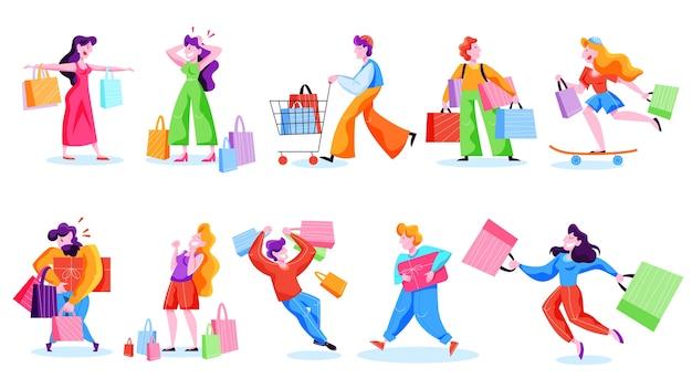 人々のショッピングセット。バッグを持つ人のコレクション。大きなセールと割引。陽気なバイヤー。漫画のスタイルのイラスト