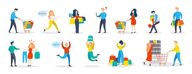 사람들이 쇼핑 세트. 가방을 가진 사람의 수집