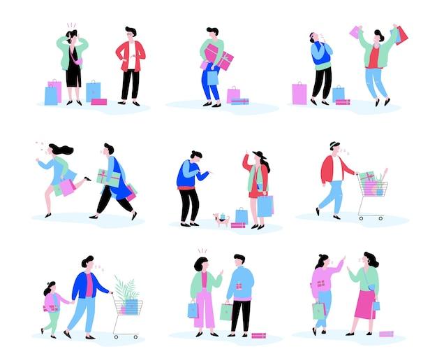 人々のショッピングセット。バッグを持つ人の集まり