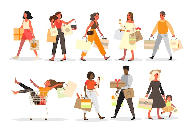 People shopping set. collection of person with bag and box. big sale and discount. grocery or fashion store. customer with shopping bags. cheerful buyer.