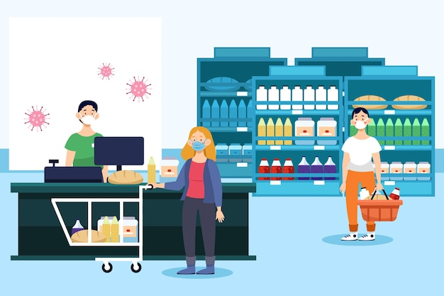 People shopping at the supermarket illustrated