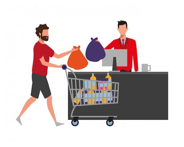 People shopping at supermarket