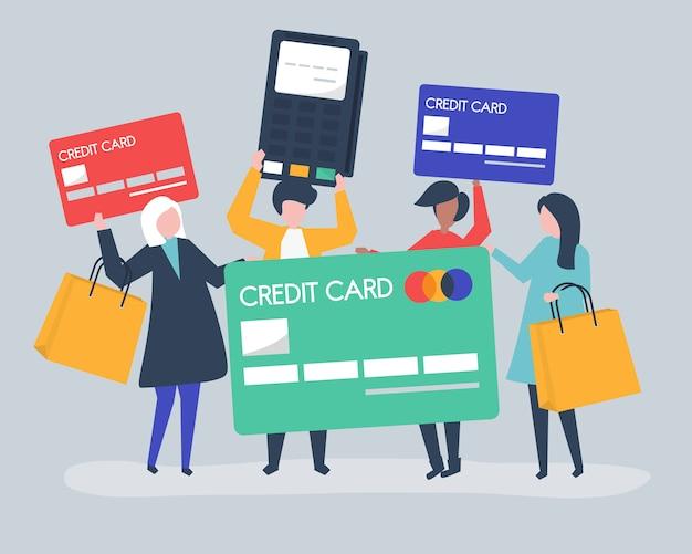 신용 카드로 쇼핑하는 사람들