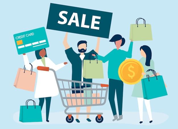 Люди делают покупки с помощью кредитной карты