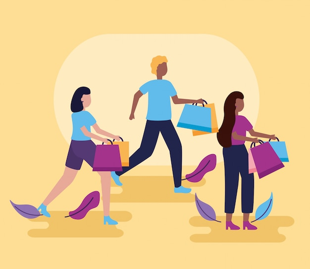 People shopping with bags