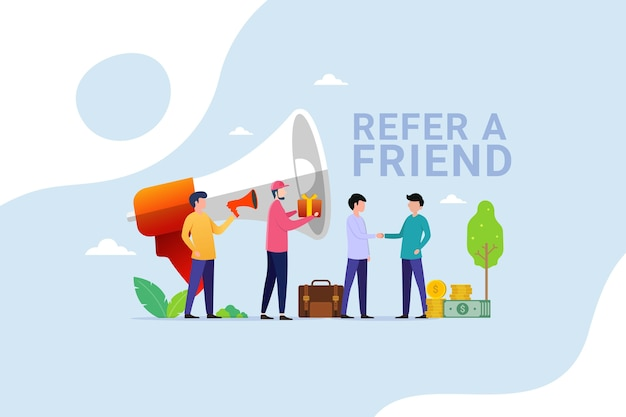 People shout on megaphone with refer a friend and get reward