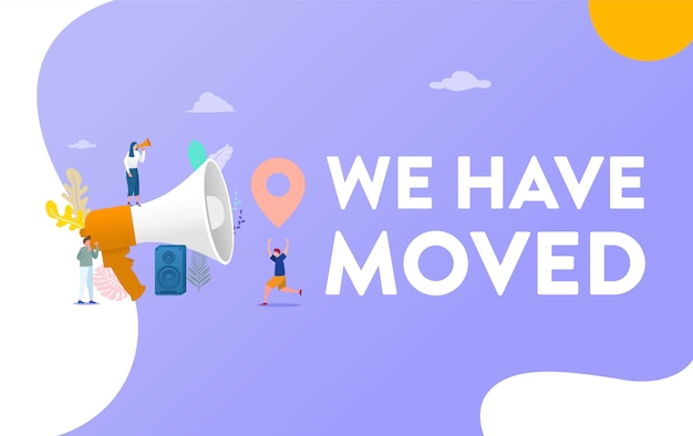 People shout on megaphone with we have moved word, chane address illustration concept
