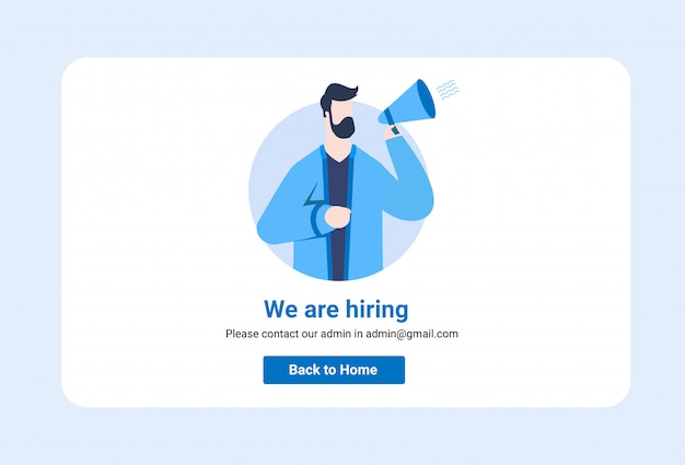 People shouting on megaphone with we are hiring word illustration website