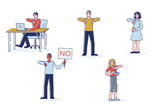 不承認を示している人々。親指を下に向けて否定的なフィードバックや苦情を示す漫画のキャラクターのセット
