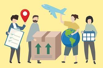 People showing methods of worldwide shipping