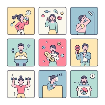 People showing tips to boost immunity infographic character flat design style vector illustration