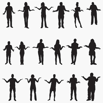 People shrugging silhouettes