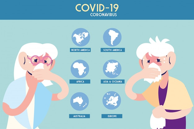 地球、インフォグラフィックのコロナウイルスの病気の人