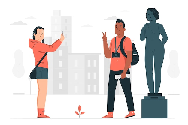 People sightseeing outdoors concept illustration