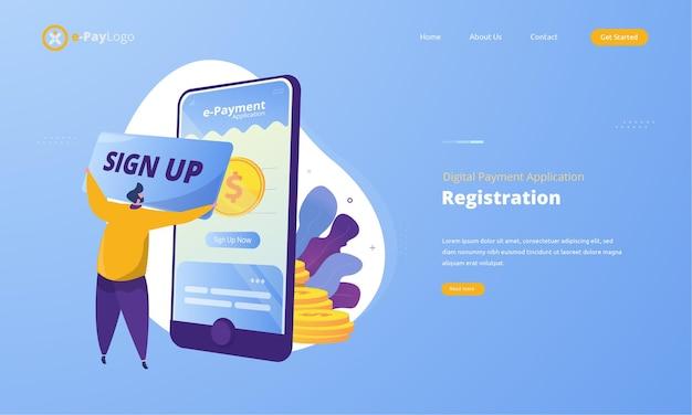 Люди подписываются на регистрацию на концепции иллюстрации приложения цифровых платежей