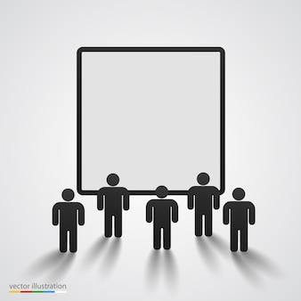 People silhouette against blank screen