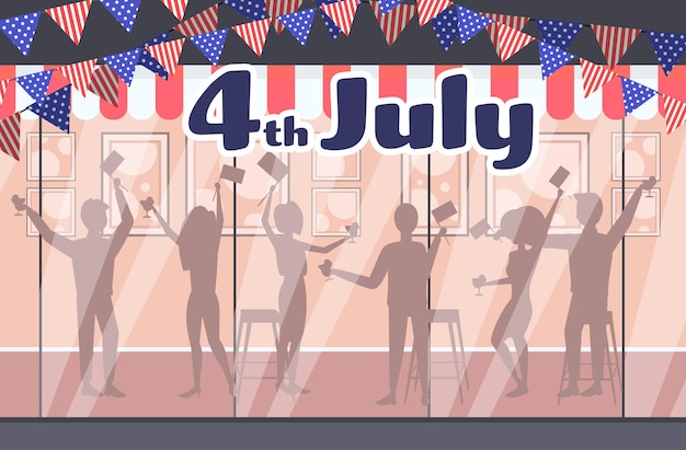 People silhouettes celebrating, 4th of july american independence day celebration card