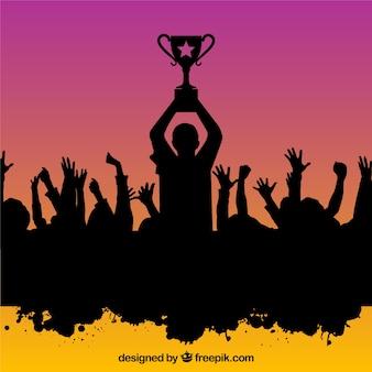 세계 선수권 대회를 축하하는 사람들 실루엣