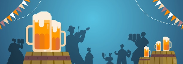 People silhouettes celebrating beer festival holding mugs playing musical instruments