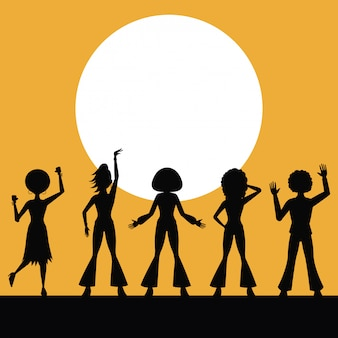 People silhouettes dancing in disco