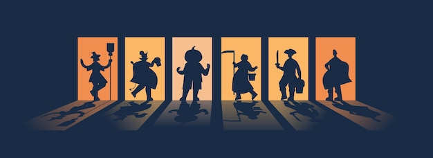 People silhouettes in different costumes celebrating happy halloween party concept greeting card horizontal full length vector illustration