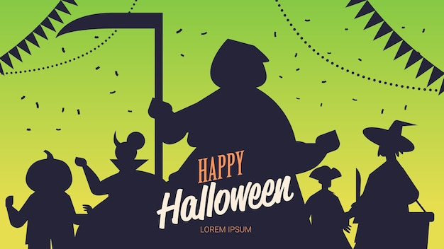 People silhouettes in different costumes celebrating happy halloween party concept lettering greeting card portrait horizontal copy space vector illustration
