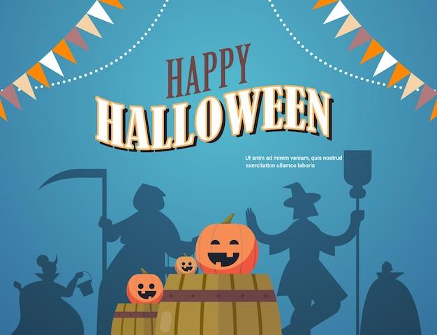 Силуэты людей в разных костюмах празднуют счастливую вечеринку в честь хэллоуина, надпись поздравительной открытки, горизонтальная копия пространства, векторная иллюстрация