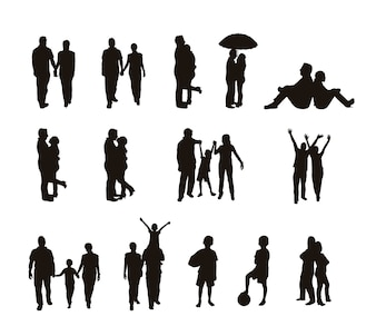 People silhouettes isolated over white background vector illustration