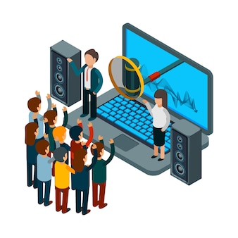 People sing. choir recording song.  isometric music concept