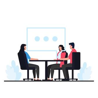 人々は椅子に座って、オンライン会話の大きなチャットバブルのメタファーと話し合います。